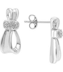 diamond ribbon drop earrings (1/8 ct. t.w.) in sterling silver