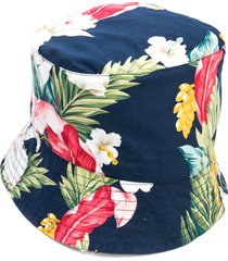 engineered garments tropical print poplin bucket hat - blue