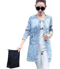 casual women denim jacket slim long sleeve jean jacket coat outwear plus size