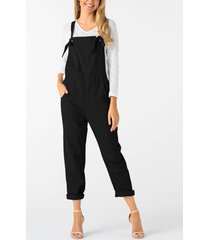 black square neck sleeveless overall outfits