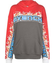 floral color-blocked logo hoodie