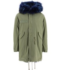 mr & mrs italy army long parka with coyote fur and murmasky