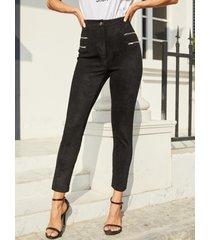 yoins cremallera negra diseño de cintura alta pantalones