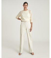 reiss lula - alpaca linen blend top in cream, womens, size xl