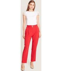 pantalón paper bag unicolor rojo 12