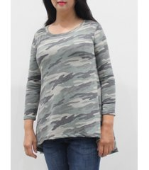 coin 1804 women's camo 3/4 sleeve button back top