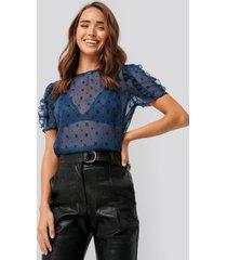 na-kd boho velvet applique shirred blouse - blue