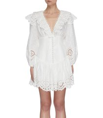 'bellitude' scallop puff sleeve mini dress