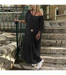 zanzea vestido largo de encaje de hombro frío croceht de mujer vestido de camisa de playa ahuecada -negro