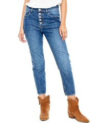 mom cropped jeans high waist con botonadura delantera color blue