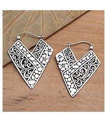 sterling silver hoop earrings, 'hibiscus path' (indonesia)