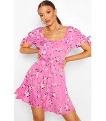 bloemenprint skater jurk met mouwstrikjes, roze