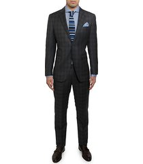 modern fit wool check suit