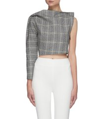 'principal' boatneck one-shoulder checker crop top