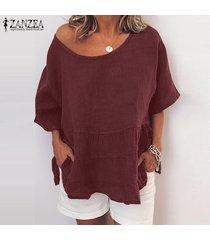 zanzea para mujer casual suelta de manga corta del cuello de o tops camisas túnica de la blusa pullover -rojo