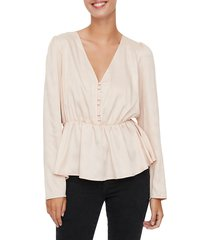 vero moda women's kiara v-neck cinched blouse - rose dust - size xs