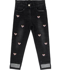 monnalisa pink panther embroidered stretch denim jeans