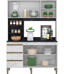 armário cozinha viena c/ 135cm de largura 4 portas 3 gavetas e nichos peternella