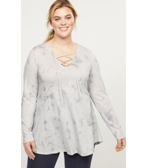 lane bryant women's livi top - tie-dye with lace-up 26/28 grey
