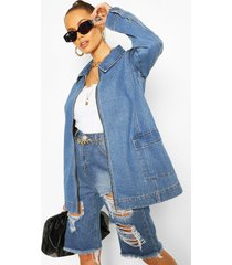 oversized pocket detail jean jacket, mid blue