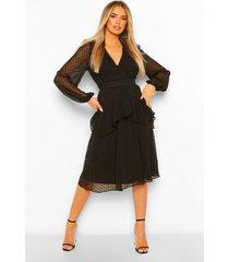 dobby chiffon midi jurk met franjeszoom, black