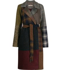 ermanno gallamini abric patchwork belted coat - grey
