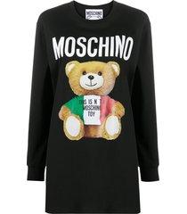 moschino teddy bear print long-sleeved t-shirt - black
