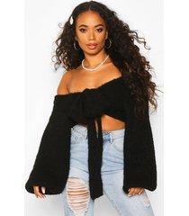 petite off shoulder fluffy knit tie front sweater, black