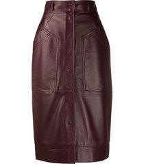 alberta ferretti high-waisted leather pencil skirt - brown