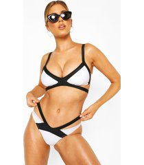 colour block contrast cut out bikini, white
