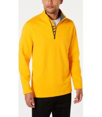 dkny men's logo quarter-zip sweater
