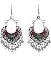 bohemian floral bead tassel drop earrings