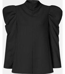 camicetta casual manica lunga patchwork manica a sbuffo tinta unita per donna