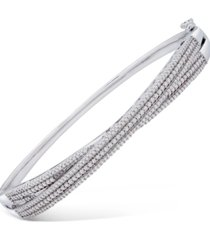 wrapped in love diamond multi-row crossover bangle bracelet (1 ct. t.w.) in sterling silver, created for macy's