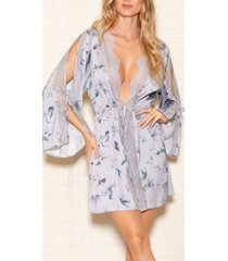 icollection elegant satin and lace hummingbird print robe