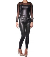 women pure leather jumpsuit genuine lambskin catsuit romper all color tailor-200