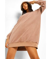 oversized overdye sweatshirt jurk, chocolate