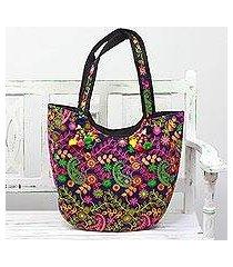 embroidered tote handbag, 'paisley flowers in indigo' (india)
