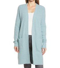 women's caslon long cardigan, size large - blue