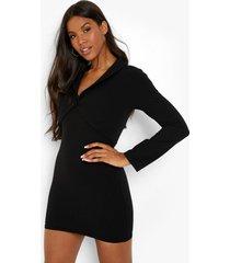 blazer jurk met dubbele laagjes en lange mouwen, black
