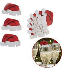 350 pack - new christmas champagne wine glass hat holiday party decor - red