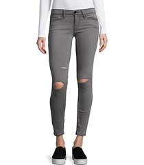 le skinny satine distressed jeans