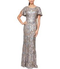 alex evenings flutter-sleeve sequin gown
