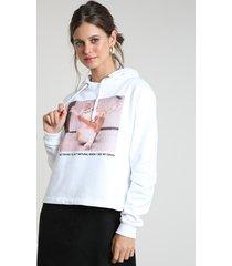 blusão feminino gato em moletom felpado com capuz off white