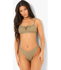 mix & match gekreukelde strapless bikini top met strik, light khaki