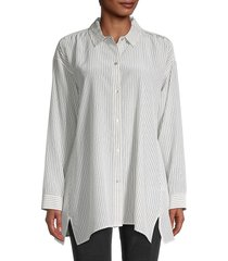 eileen fisher women's striped silk top - ivory black - size l