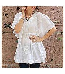 cotton blouse, 'snow blossom' (india)