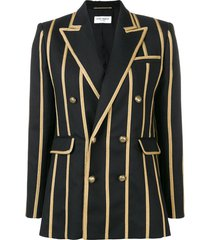 saint laurent braided stripe blazer - black