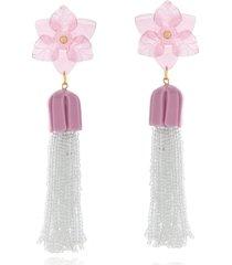 brinco le diamond base flor com franja de miçangas rosa