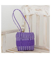 recycled plastic shoulder bag, 'purple picnic' (guatemala)